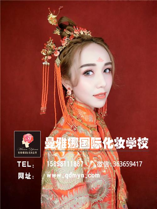 青岛有名的影楼化妆学校,曼雅娜,新娘妆作品